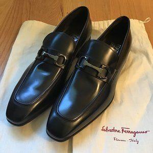 NEW Salvatore Ferragamo Black Dress Shoes Mens 10